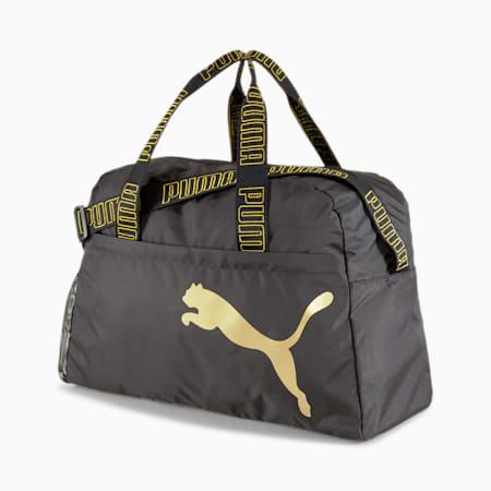 トレーニング AT エッセンシャル ウィメンズ グリップ ダッフル バッグ 30L, Puma Black-Metallic Gold, small-JPN