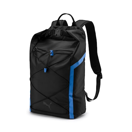 Active Training Shift Women's Backpack, Puma Black-Blue Glimmer, small-IND