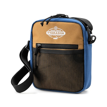 PUMA x TYAKASHA Shoulder bag, G.Blue-F.Brick-B.Brown, small