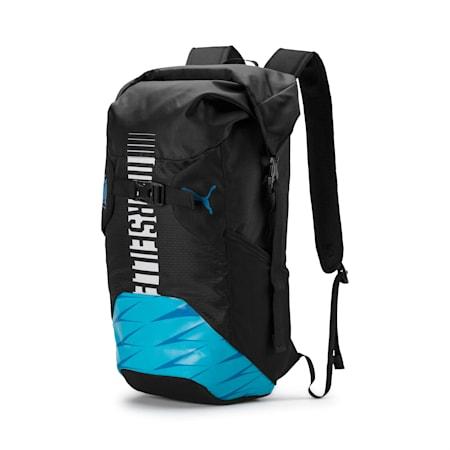 Olympique de Marseille Football Culture Rolltop Backpack, Puma Black-Bleu Azur-White, small