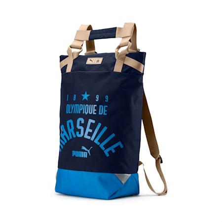 Olympique de Marseille Premium Tote Backpack, Peacoat-Bleu Azur-Beige, small-IND