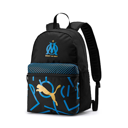 Olympique de Marseille DNA Phase Football Backpack, Puma Black-Bleu Azur-White, small-IND