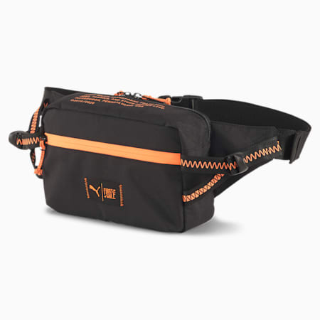 PUMA x FIRST MILE Running Waist Bag, Puma Black-Fizzy Orange, small-SEA
