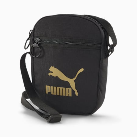 Originals Portable Shoulder Bag, Puma Black-Gold, small-SEA