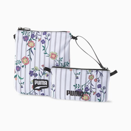 Prime Time Festival Shoulder Bag and Pouch, White-Black-flower AOP, small-IND