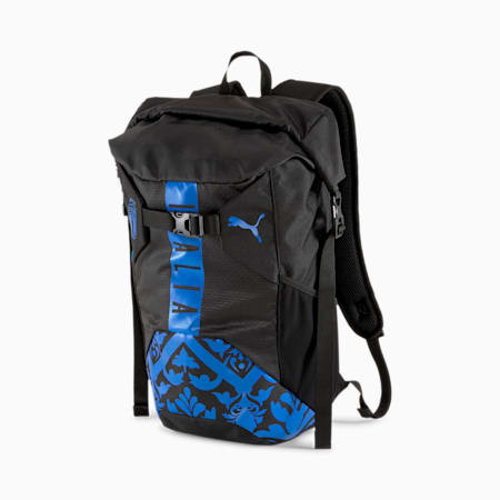 Italia FtblCulture Roll Top Backpack, Puma Black-Team Power Blue, small