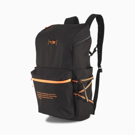PUMA x FIRST MILE Running Backpack, Puma Black-Fizzy Orange, small-SEA