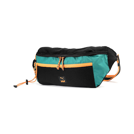 PUMA x HELLY HANSEN Oversized Waist Bag, Puma Black-Teal Green, small-SEA