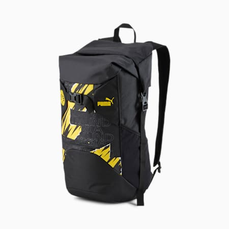 BVB ftblCULTURE Football Backpack, Puma Black-Cyber Yellow, small-IND