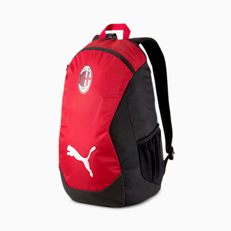 AC Milan FINAL Football Backpack, Puma Black-Tango Red, small-IND