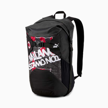 AC Milan Football Culture Rolltop Backpack, Puma Black-Tango Red, small-IND
