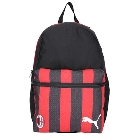 AC Milan Football Phase Backpack, Puma Black-Tango Red, small-IND