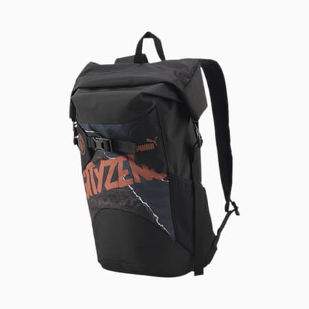 Manchester City ftblCULTURE Football Rolltop Backpack, Puma Black-Copper, small-IND