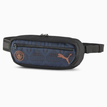 Man City ftblCORE Football Waist Bag, Puma Black-Copper, small-SEA