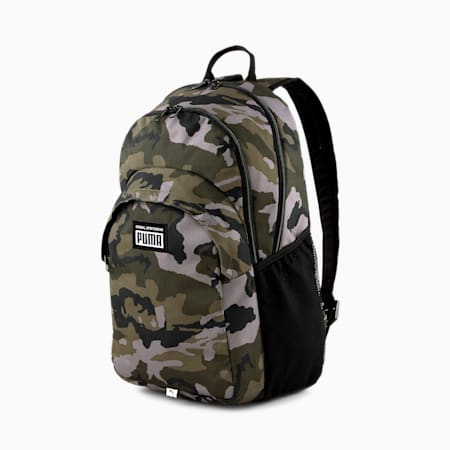 PUMA Academy Unisex Backpack, Forest Night-Camo AOP, small-IND