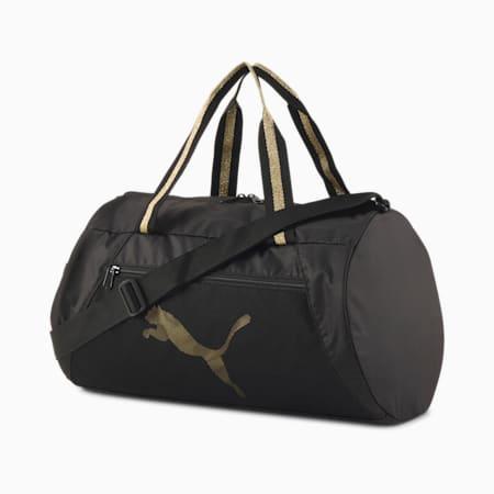 Essentials Barrel Bag, Puma Black-Bright Gold, small-SEA