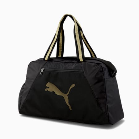 Essentials Women's Training Grip Bag, Puma Black-Bright Gold, small-IND