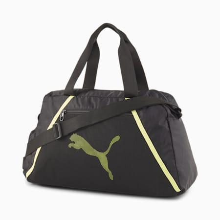Essentials Women's Training Grip Bag, Puma Black-SOFT FLUO YELLOW, small-SEA