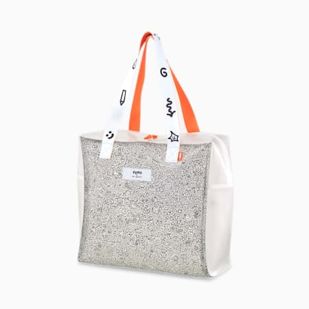 PUMA x MR. DOODLE Shopper Bag, Transparent-Puma White, small-SEA