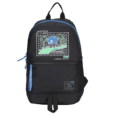 PUMA x SEGA Reflective Tec Kids' Backpack, Puma Black, small-IND