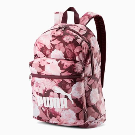 PUMA Classic Cat Backpack, Vineyard Wine-Floral AOP, small