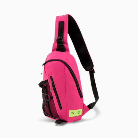 PUMA x FIRST MILE Cross Body Shoulder Bag, Black-Pink-Fizzy Yellow, small-SEA