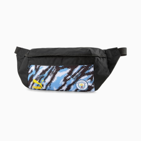 Man City Iconic Street Football Waist Bag, Puma Black-Team Light Blue, small
