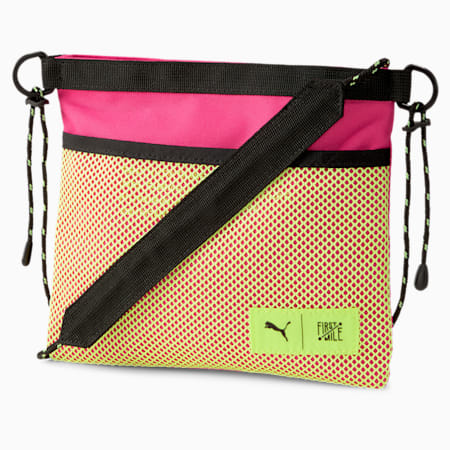 PUMA x FIRST MILE Sacoche Waist Bag, Black-Pink-Fizzy Yellow, small-SEA