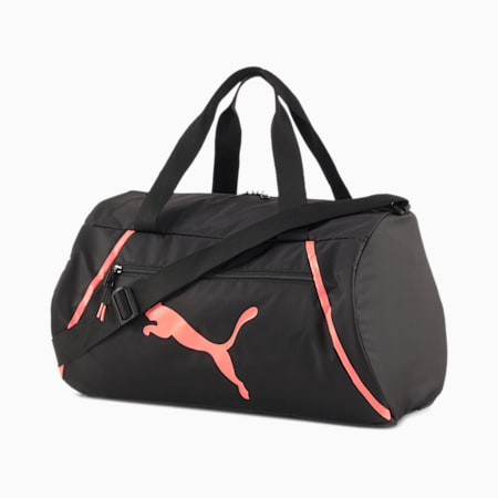 Essentials Pearl Women's Barrel Bag, Puma Black-Nrgy Peach, small-SEA