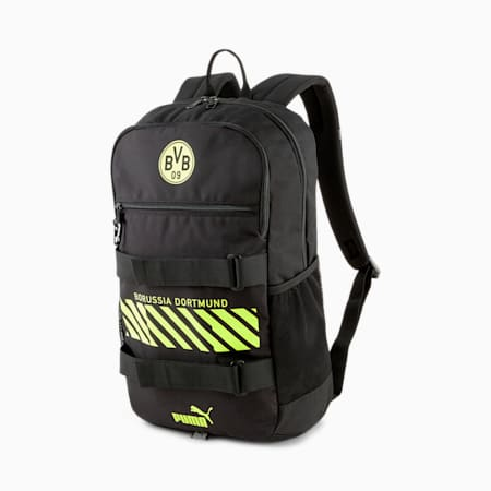 BVB Deck Football Backpack, Puma Black-Safety Yellow, small