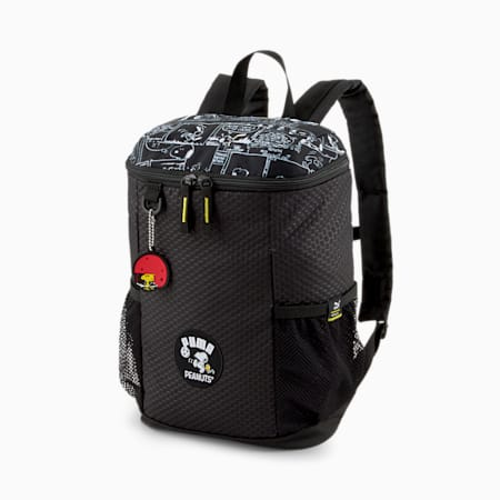 PUMA x PEANUTS Unisex Backpack, Puma Black, small-IND