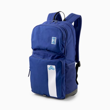 PUMA x CLOUD9 Backpack, Puma Black-Elektro Blue, small-GBR