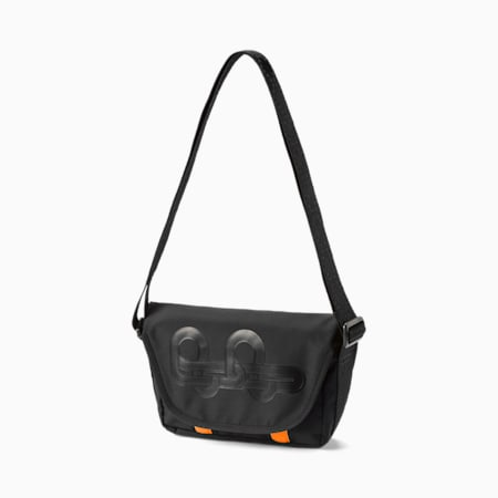 PUMA x PRONOUNCE Messenger Bag, Puma Black-Vibrant Orange, small