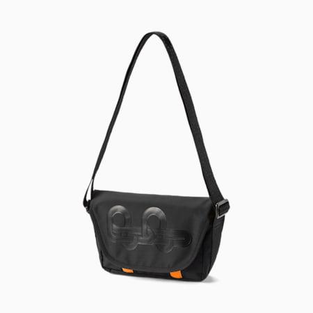 PUMA x PRONOUNCE Unisex Messenger Bag, Puma Black-Vibrant Orange, small-IND