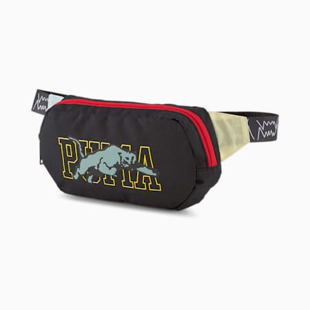 Basketball Waist Bag, Puma Black-High Risk Red-Eggshell Blue, small-GBR