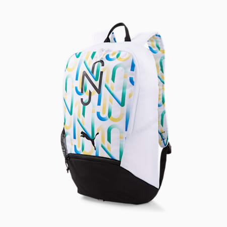 Neymar Jr. Unisex Backpack, Puma White-Puma Black-Amazon Green-Dandelion, small-IND