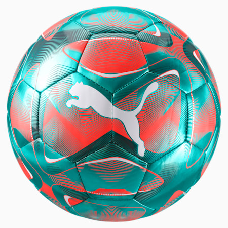 FUTURE Flash Soccer Ball, Turquoise-Nrgy Red-White, small