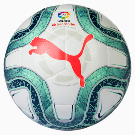 LaLiga 1 HYBRID (Dimple) Football, White-Green Glimmer-Nrgy Red, small-SEA