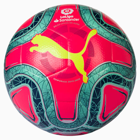 LaLiga 1 HYBRID (Dimple) Football, Pink-Yellow-Green Glimmer, small
