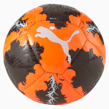 PUMA Spin Mini Soccer Ball, Shocking Orange-Black-White, small