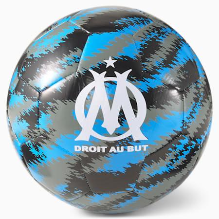 Pallone da calcio per allenamento OM Iconic Big Cat, Puma Black-AZURE BLUE, small