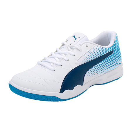 Veloz Indoor NG Training Shoes, White-Blue-Hawaiian Surf, small-IND