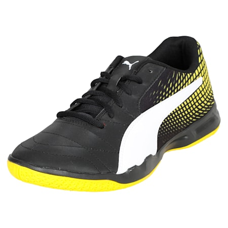 Veloz Indoor NG Training Shoes, Black-White-Yellow, small-IND