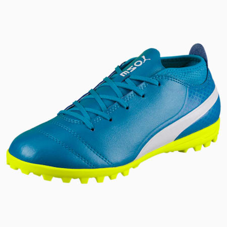 ONE 17.4 TT Kids' Football Boots, Blue-White-Yellow, small-IND