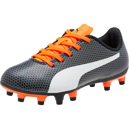 Kids' Spirit FG Football Boots, Black-White-Orange, small-SEA