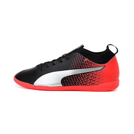 evoKNIT IT Men's Football Shoes, Black-Silver-Red, small-IND