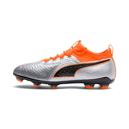 PUMA ONE 2 Leather FG  Football Boots, Silver-Orange-Black, small-IND