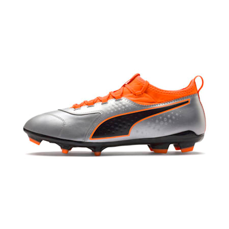 PUMA ONE 3 Leather FG Men's Football Boots, Silver-Orange-Black, small-IND