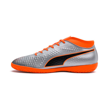 PUMA ONE 4 Synthetic IT  Football Shoes, Silver-Orange-Black, small-IND