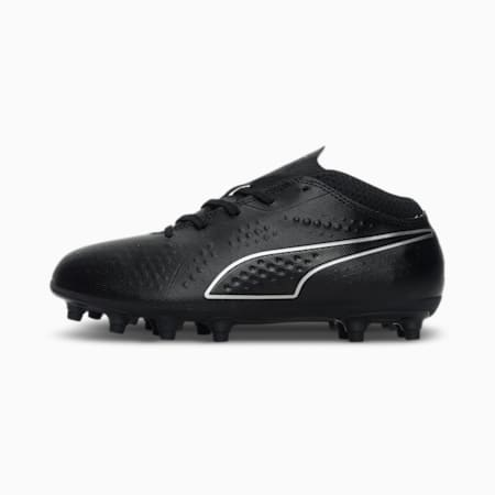 PUMA ONE 4 Synthetic FG Kids' Football Boots, Black-Black-Black, small-IND